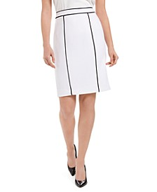 Petite Pique Contrast Piping Pencil Skirt
