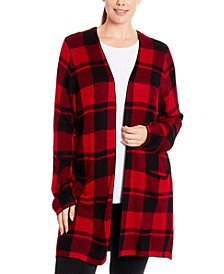 Plus Size Plaid Open-Front Cardigan