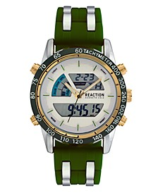 Men's Green Silicon Strap Analog-Digital Watch, 46mm