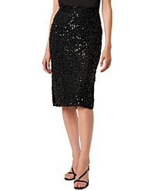 Knee-Length Sequin Skirted Dress