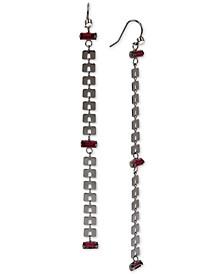Hematite-Tone Crystal Chain-Link Linear Drop Earrings