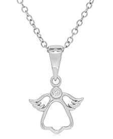Children's Diamond Accent Angel Necklace in Sterling Silver