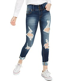 Juniors' Mid-Rise Triple-Button Ripped Skinny Jeans