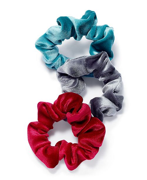 INC International Concepts INC 3-Pc. Set Multicolor Velvet Hair Scrunchies, Created for Macy's