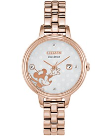 Eco-Drive Women's Classic Diamond-Accent Rose Gold-Tone Stainless Steel Bracelet Watch 31mm