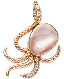 "Mother-of-Pearl & White Sapphire (1/10 ct. t.w.) Octopus 21"" Pendant Necklace in Rose Gold-Plated Sterling Silver"