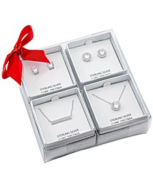 4-Pc. Set Cubic Zirconia Pendant Necklaces & Stud Earrings in Sterling Silver, Created for Macy's