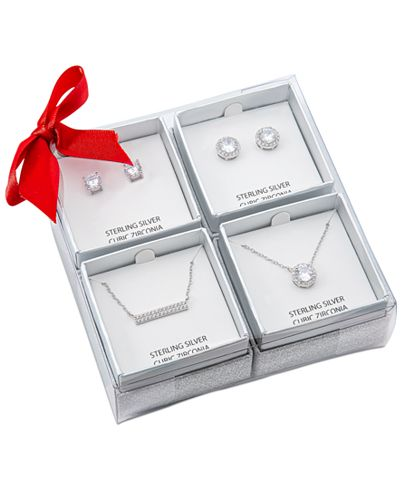 4-Piece Giani Bernini Cubic Zirconia Pendant Necklaces & Stud Earrings Set in Sterling Silver