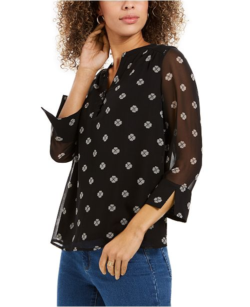 Charter Club Printed Split-Sleeve Top, Created for Macy's