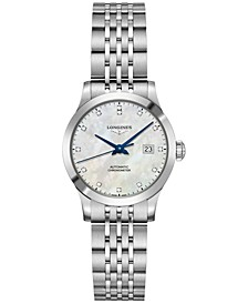Women's Swiss Automatic Record Collection Diamond-Accent Stainless Steel Bracelet Watch 30mm