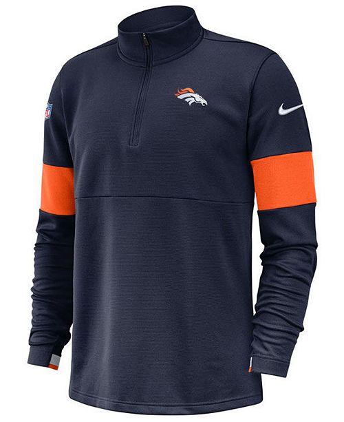 Nike Men's Denver Broncos Sideline Therma Fit Half Zip Top