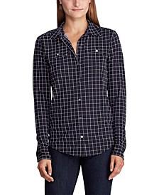 Petite Check-Print Jersey Shirt