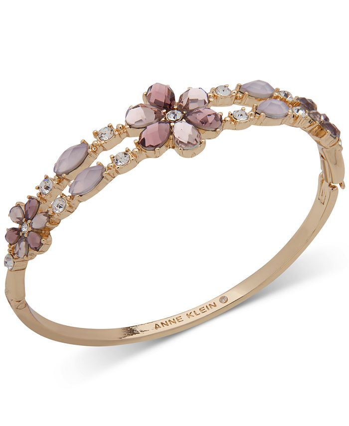 Anne Klein - Gold-Tone Crystal & Stone Flower Bangle Bracelet