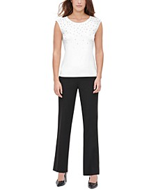 Faux-Pearl Embellished Top