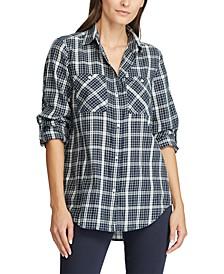Petite Roll-Tab-Sleeve Twill Shirt