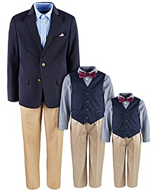& Nautica Navy Blue Suit Separates & Vest Sets