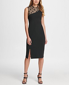 Lace and Crepe Combo Sheath Dress