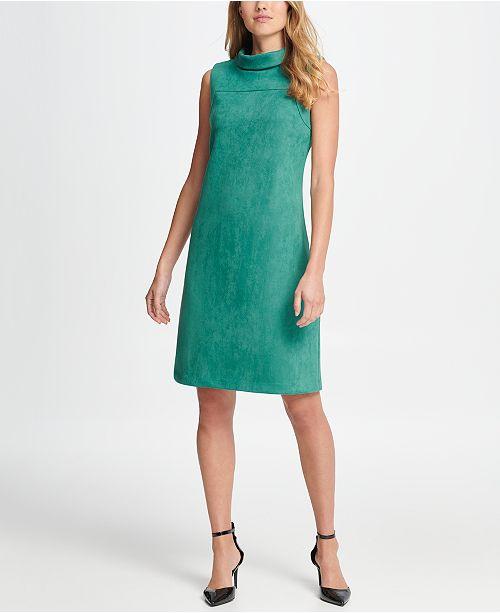 DKNY Mock Neck Suede Sleeveless Sheath Dress