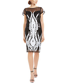 Connected Sequin Sheath Dress