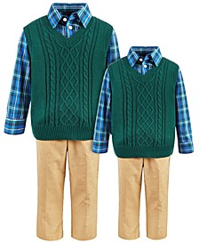 Baby, Toddler & Little Boys 3-Pc. Cable-Knit Sweater Vest, Plaid Shirt & Corduroy Pants Sets