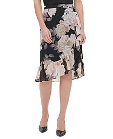 Floral-Print Tulip-Hem Skirt