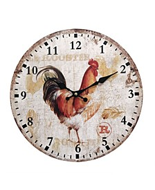 Wooden Clock with Rooster