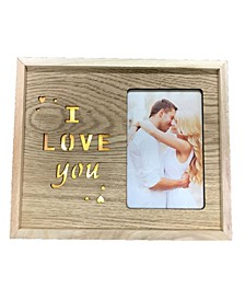 Led Lighted Photo Frame with I Love You. Wood Material. Horizontal