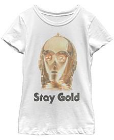 Big Girls C-3PO Stay Gold-Tone Big Face Short Sleeve T-Shirt