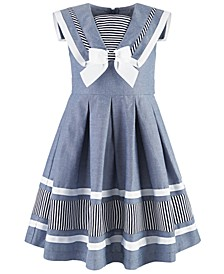 Little Girls Nautical Chambray Dress