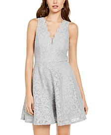Juniors' V-Neck Glitter Lace Dress