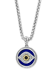 "EFFY® Multi-Gemstone & Diamond (1/10 ct. t.w.) Evil Eye 22"" Pendant Necklace in Sterling Silver & 14k Gold"