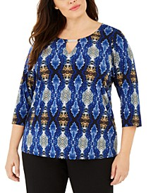Plus Size Hardware-Trim Keyhole-Neck Top