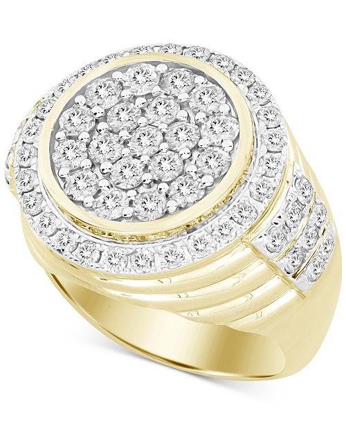 Macy's Men's Diamond Round Cluster Ring (3 ct. t.w.) in 10k Gold