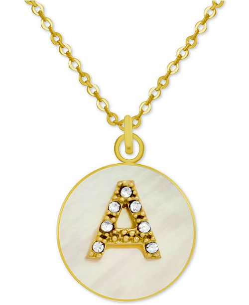 """PIXIE POSEY White Mother-of-Pearl Crystal Initial Pendant 18"""" Necklace in Gold-Plate"""