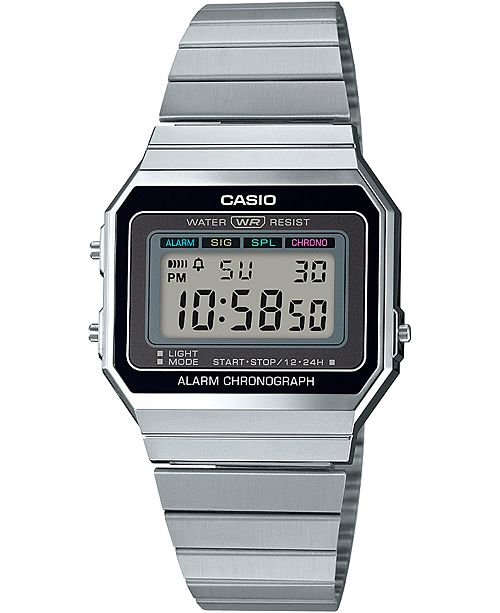 Casio Unisex Digital Stainless Steel Bracelet Watch 35.5mm