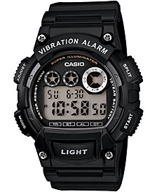 Men's Digital Black Resin Strap Watch 44mm