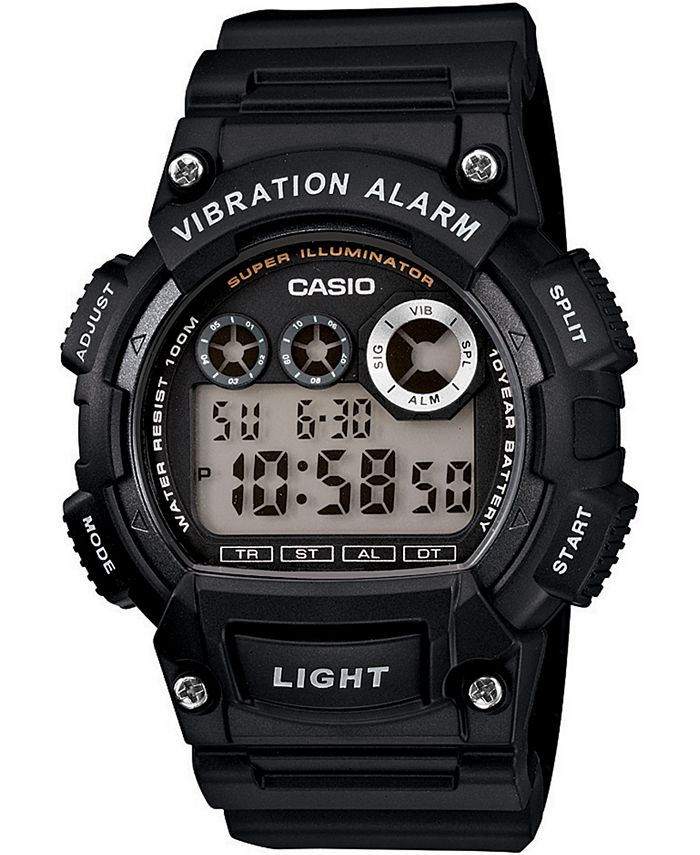 Casio - Men's Digital Black Resin Strap Watch 44mm