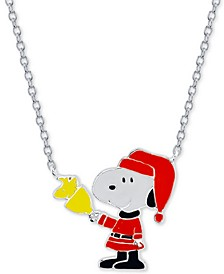 """Snoopy"" Santa Station Pendant Necklace in Fine Silver Plated, 16""+2"" extender"