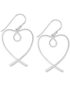 Twisted Heart Drop Earrings in Fine Silver-Plate