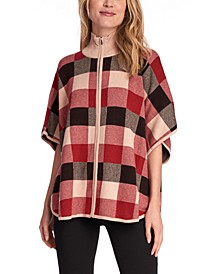 Plaid Zip-Front Poncho