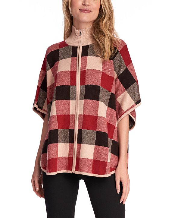 Jones New York Plaid Zip-Front Poncho