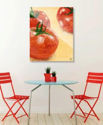 "Painted Tomatoes on Yellow 16"" x 20"" Acrylic Wall Art Print"