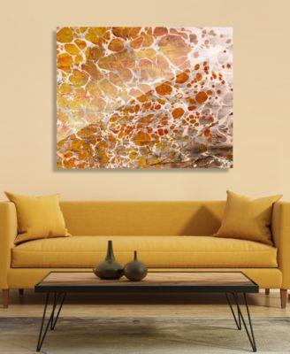 "Orange Yellow Blotch Spots Abstract 16"" x 20"" Acrylic Wall Art Print"
