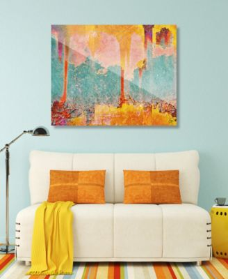 "Radioactive Fallout in Yellow Abstract 24"" x 36"" Acrylic Wall Art Print"