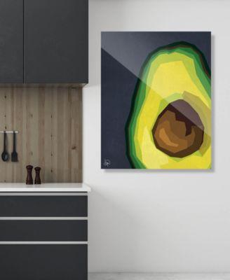 "Large Sliced Graphic Avocado on Blue 20"" x 24"" Acrylic Wall Art Print"