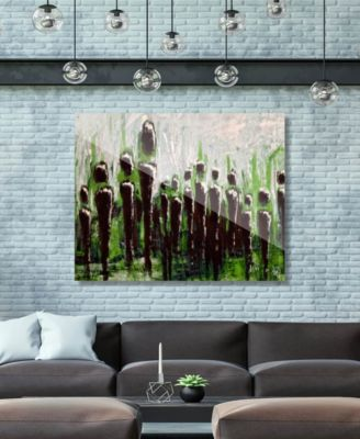 """The Crowd on Green Abstract 16"""" x 20"""" Acrylic Wall Art Print"""