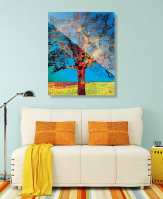 """Radiant Tree in Red Yellow Abstract 16"""" x 20"""" Acrylic Wall Art Print"""
