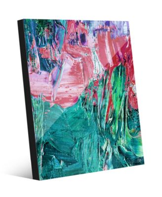 """Red and Teal Avalanche Abstract 20"""" x 24"""" Acrylic Wall Art Print"""