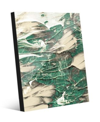 Paint Swipe Teal Green White Abstract 20
