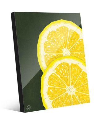 Large Sliced Graphic Lemon on Green 20